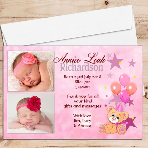 10 Personalised Baby Girl Birth Announcement Thank You PHOTO cards N67
